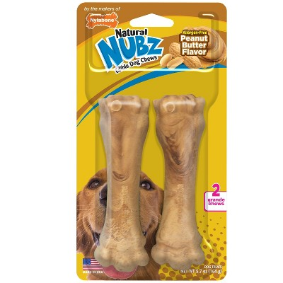 Nylabone Nubz Peanut Butter Grande Chews Dog Treats - 2ct