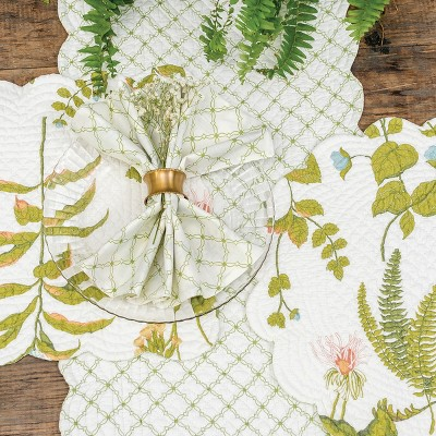 C&F Home Anessa Floral Cotton Quilted Round Reversible Placemat Set of 6