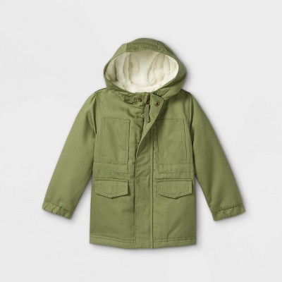 Toddler Cozy Lined Twill Jacket - Cat & Jack™ Olive