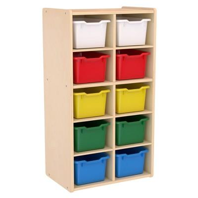 ECR4Kids Birch 10 Tray Streamline Storage Cabinet, Wood Cubbies for Kids, 10-Section