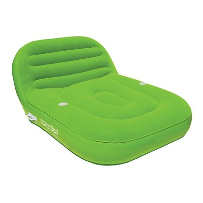 Airhead Sun Comfort Cool Suede Inflatable Double Chaise Floating Swimming Pool Lounge Float Seat, Lime Green
