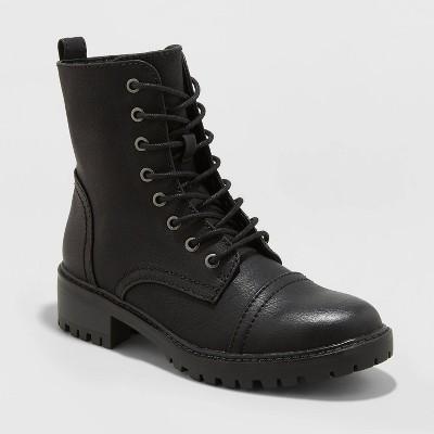 Women's Kamryn Faux Leather Combat Boot - Universal Thread™ Black 8