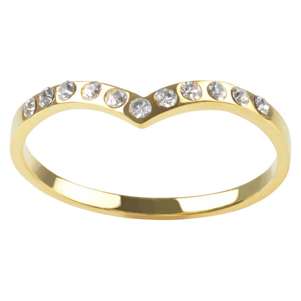 1/10 CT. T.W. Round-cut Cubic Zirconia Angled Accent Pave Set Band in Sterling Silver - Gold, 9, Girl's