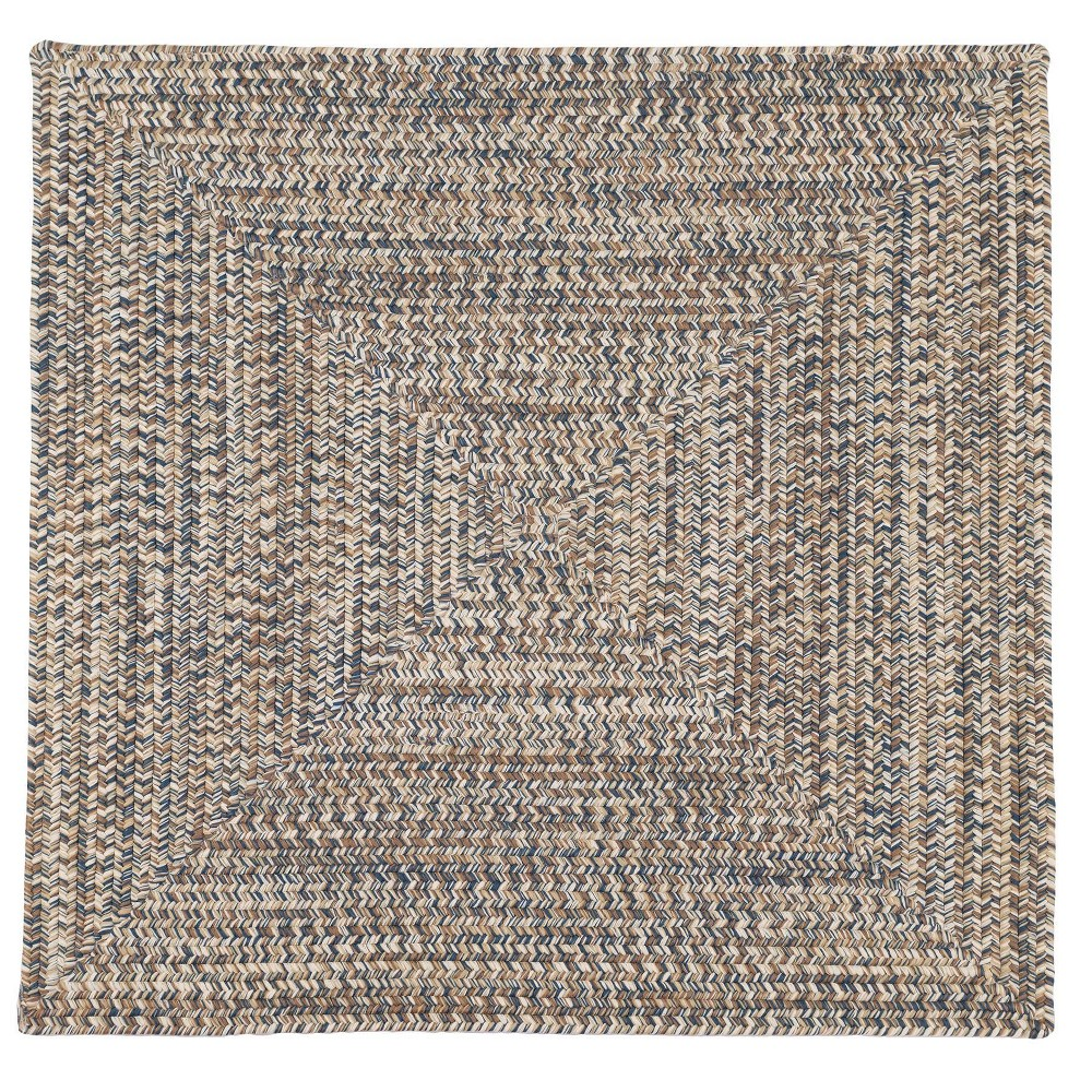 Forest Tweed Braided Square Area Rug Beige/Blue