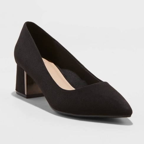 Women's Fern Microsuede Low Block Heeled Pumps - A New Day™ Black - image 1 of 3