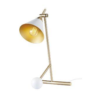 "22"" Zelda Matte White Desk Lamp with Gold Accents and White Fabric Cord - Novogratz x Globe"