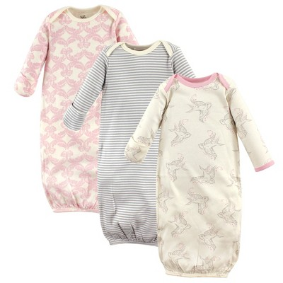 Touched by Nature Baby Girl Organic Cotton Long-Sleeve Gowns 3pk, Bird, 0-6 Months