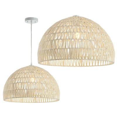 "20"" LED Woven Rattan Dome Pendant Cream - Jonathan Y"