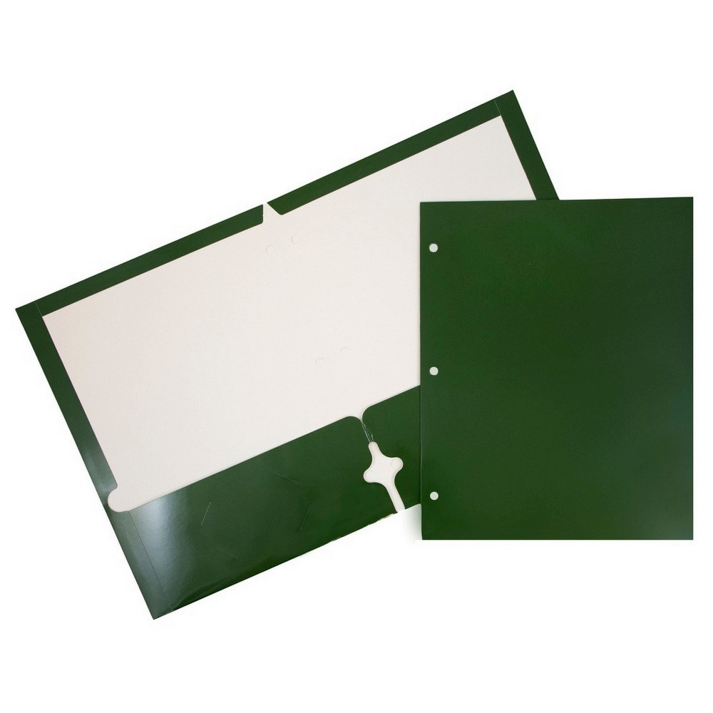 Jam Paper, Glossy 3 Hole Punch Folders, 6pk - Green