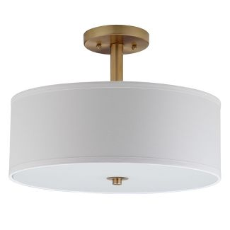 Clara 3 Light Chrome 16u0022 Semi Flush Drum Light - Gold - Safavieh