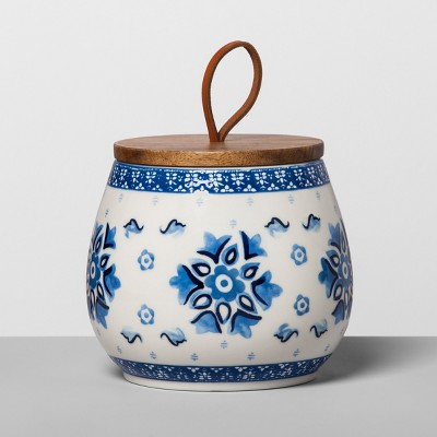 Floral Stoneware Canister with Wood Lid M Blue/White - Opalhouse™
