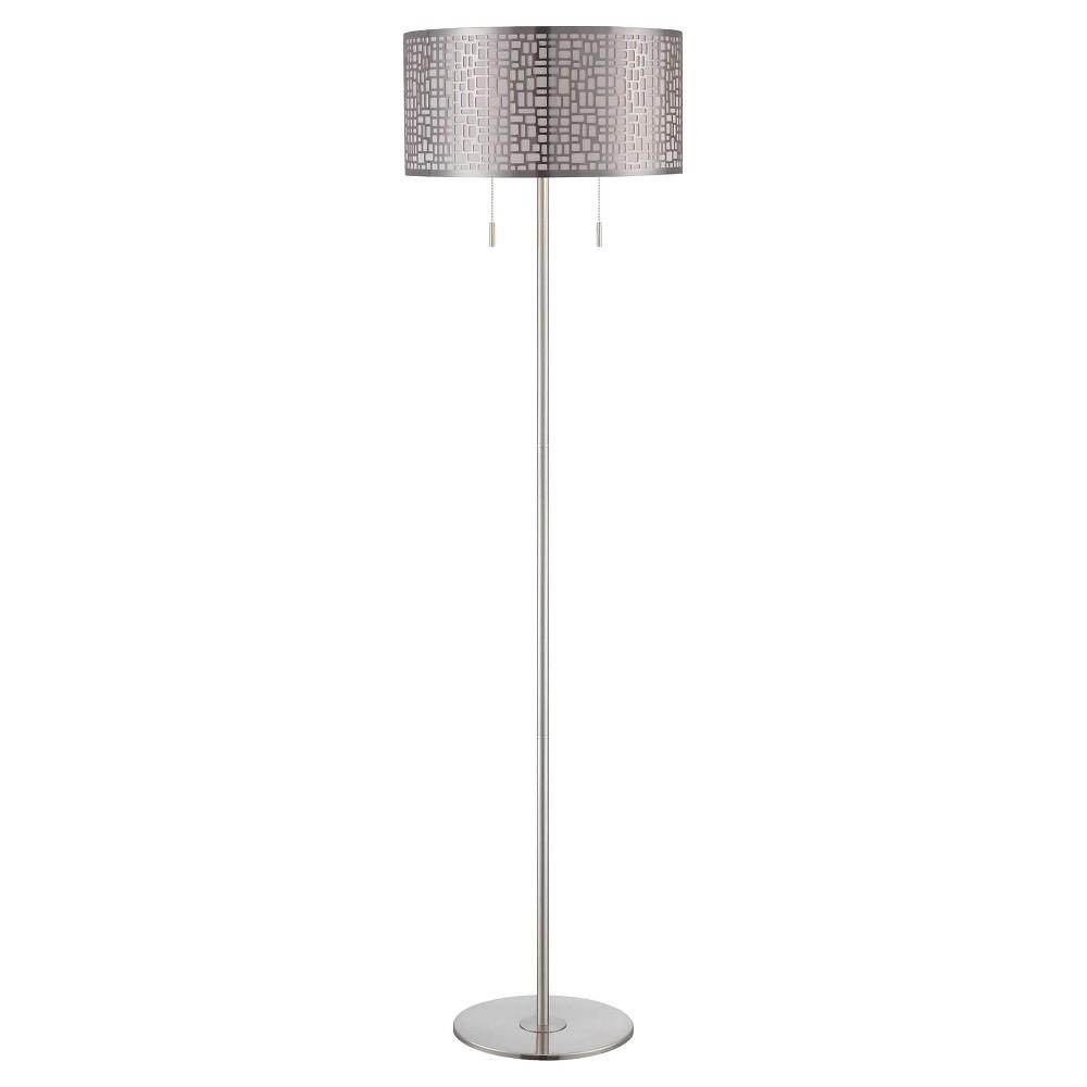 Lite Source Torre 2-LT Floor Lamp - Polished Steel (Lamp Includes Energy Efficient Light Bulb), Silver/Grey