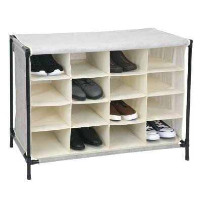 Simplify 16 Compartment Shoe Cubby Faux Jute