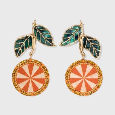 SUGARFIX by BaubleBar Crystal Citrus Drop Earrings - Orange