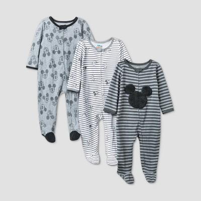 Baby Girls' 3pk Disney Mickey Mouse Sleep N' Play - Gray 6-9M