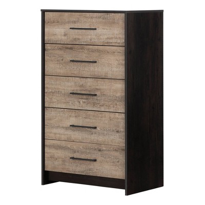 Londen 5 Drawer Chest Weathered Oak/Black - South Shore
