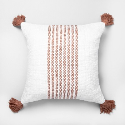 "18"" x 18"" Center Stripes Throw Pillow Rose Gold - Hearth & Hand™ with Magnolia"