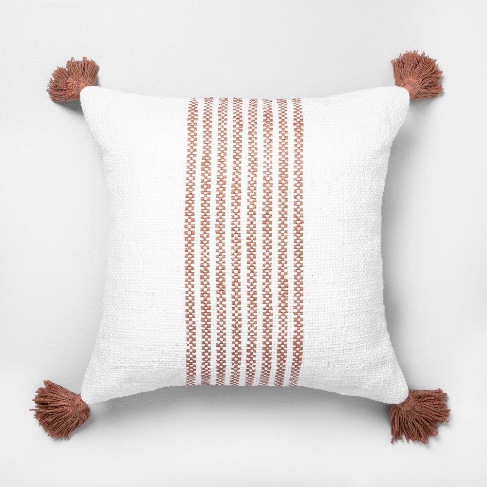 """Image of """"18"""""""" x 18"""""""" Center Stripes Throw Pillow Rose Gold - Hearth & Hand with Magnolia"""""""