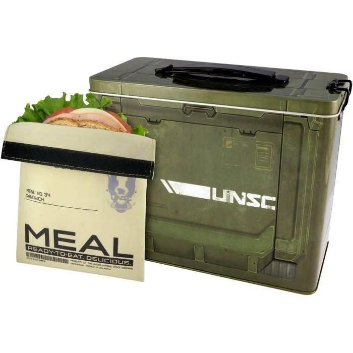 Crowded Coop, LLC Halo Ammo Crate Tin Lunch Box With Reusable Sandwich Bag - image 1 of 3