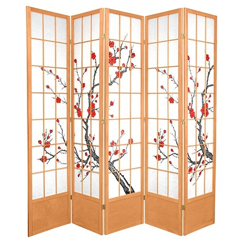 7 ft. Tall Cherry Blossom Shoji Screen - Natural (5 Panels) - image 1 of 1
