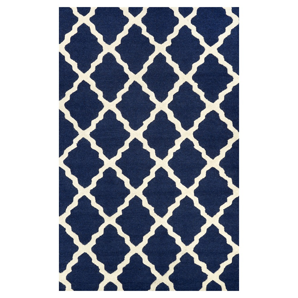 nuLOOM 100% Wool Hand Hooked Marrakech Trellis Area Rug - Blue (6' x 9')