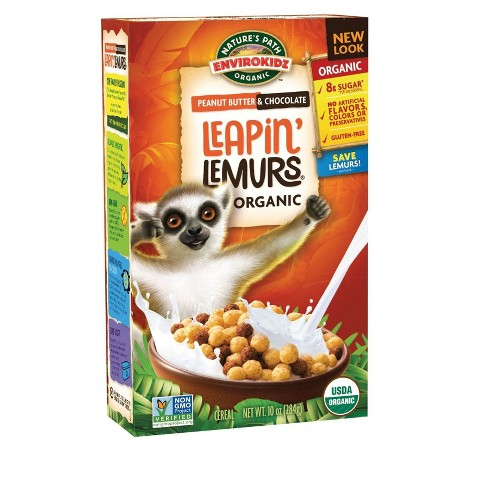Nature's Path Organic Peanut Butter & Chocolate Leapin' Lemurs Breakfast Cereal - 10oz - image 1 of 4