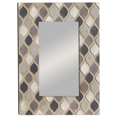 "40"" x 28"" Farmhouse Ogee Design Rectangular Wooden Framed Wall Mirror - Olivia & May"