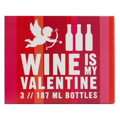 Wine Is My Valentine Gift Set - 3pk/187ml Bottles