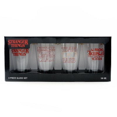 Loungefly Stranger Things Logo Crazy Friend Barb Upside Down 4 Glass Cup Set
