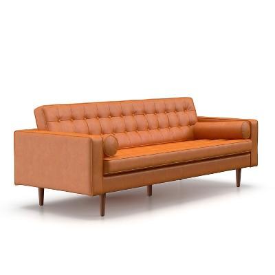 Oscar Modern Tufted Faux Leather Sofa   AF Lifestyle