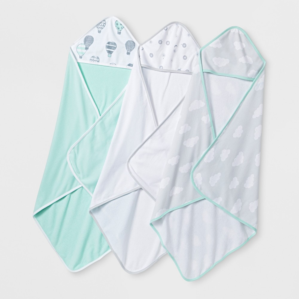 Baby In The Clouds 3pk Hooded Towels - Cloud Island Mint (Green) One Size