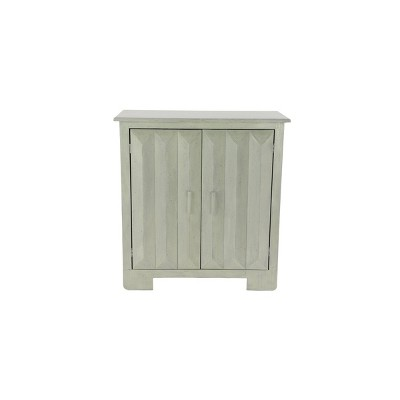 Wood Console Table with 2 Shelf Cabinet White - Olivia & May