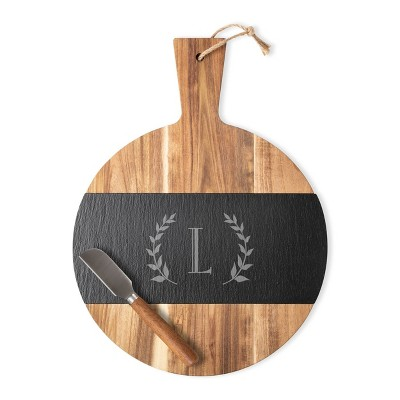 """Cathy's Concepts 11.5"""" x 15.4"""" Wood Personalized Serving Board with Cheese Knife Letter L"""