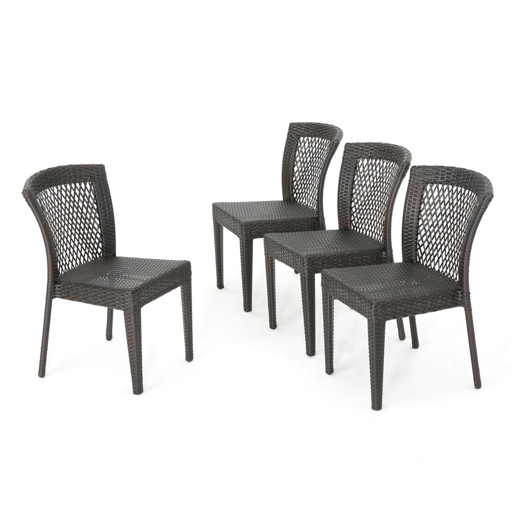 Dusk 4pk Wicker Stacking Dining Chairs - Brown - Christopher Knight Home, Multibrown