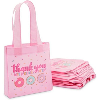 Blue Panda 24-Pack Donut Party Favors Small Gift Bags, Small Tote Bag (Pink, 6.5 x 7 x 1.77 In)