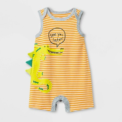 Baby Boys' Lap Shoulder Critter Romper - Cat & Jack™ Yellow <br>0-3M