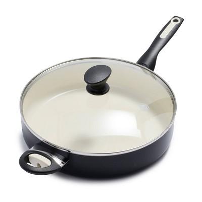 GreenPan Rio 5qt Ceramic Non-Stick Covered Saute Pan with Helper Handle Black