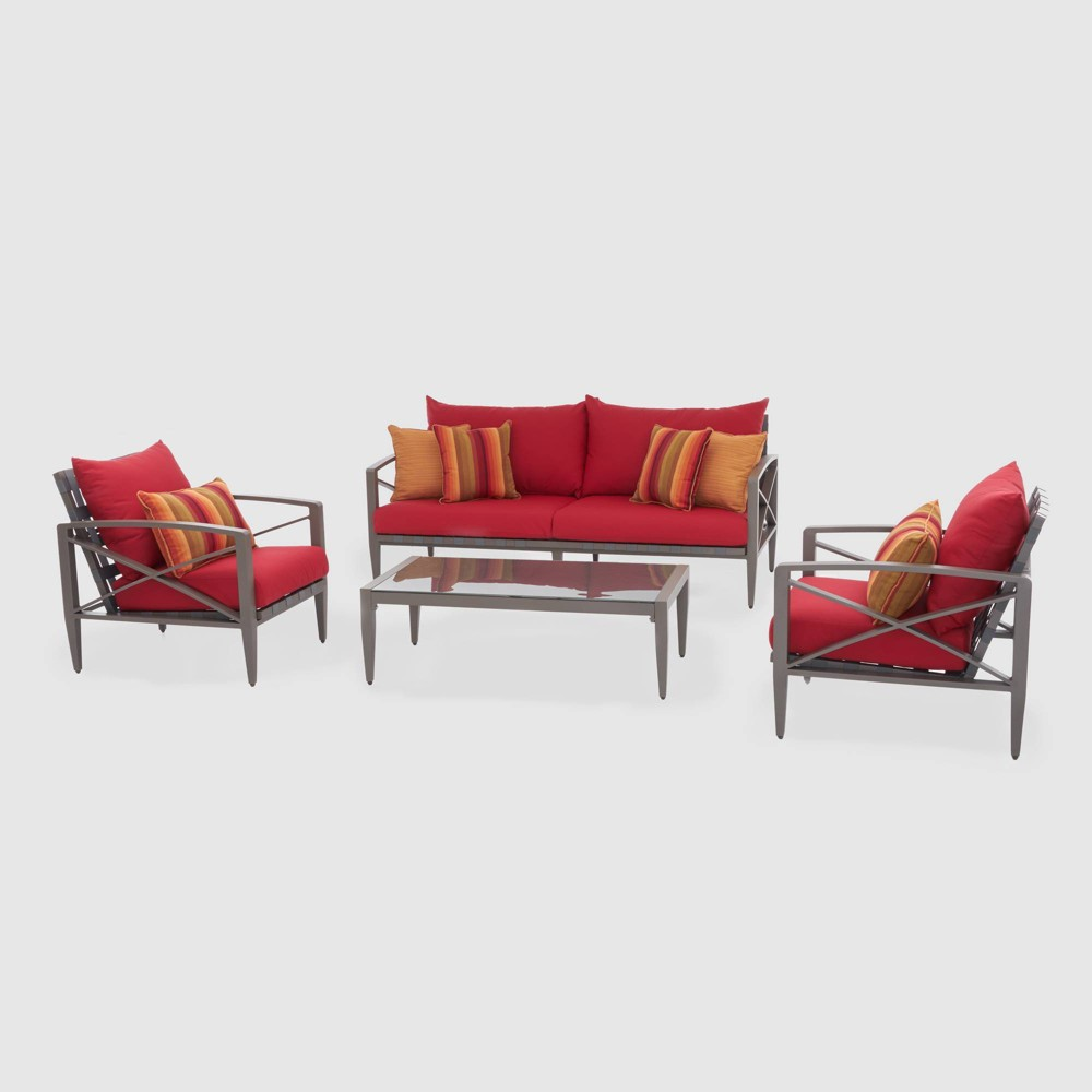 Knoxville 4pc Metal Patio Conversation Set - Taupe/Sunset Red - Rst Brands