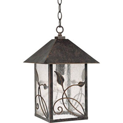 """Franklin Iron Works Country Cottage Outdoor Ceiling Light Hanging French Bronze Leaf Pattern 15"""" Seedy Glass Damp Rated for Porch"""
