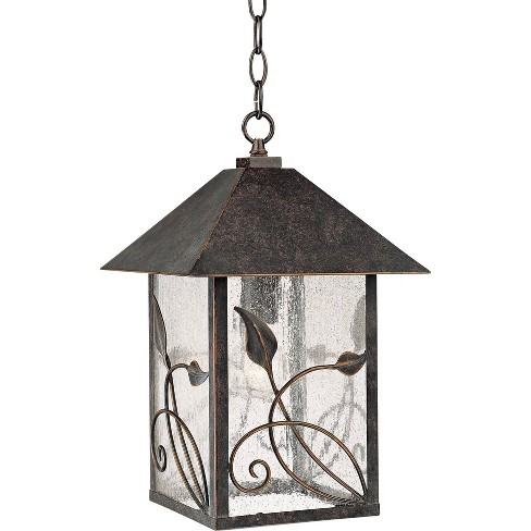 """Franklin Iron Works Country Cottage Outdoor Ceiling Light Hanging French Bronze Leaf Pattern 15"""" Seedy Glass Damp Rated for Porch - image 1 of 3"""