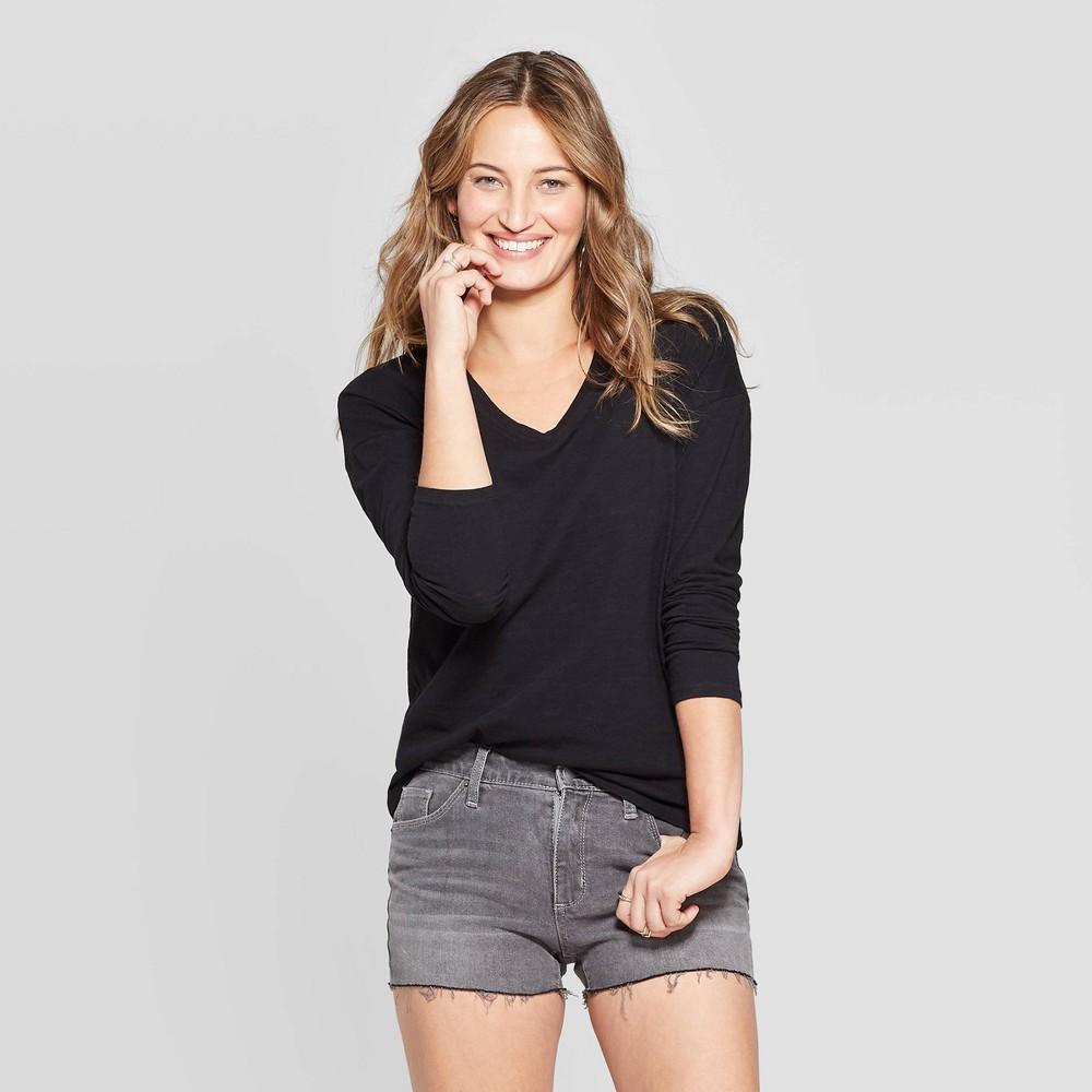 Women's Long Sleeve V-Neck Drop Shoulder T-Shirt - Universal Thread Black M