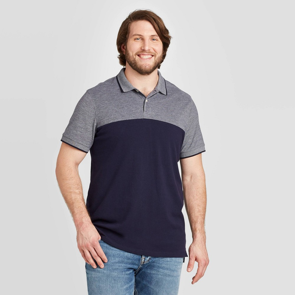 Image of Men's Big & Tall Color Block Slim Fit Short Sleeve Polo Shirt - Goodfellow & Co Navy 2XBT, Men's, Blue