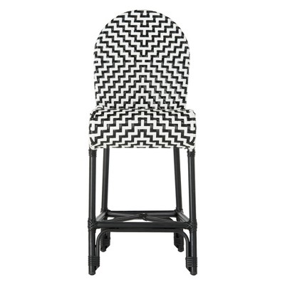 Shea Indoor/Outdoor Counter Stool Black/White - Safavieh