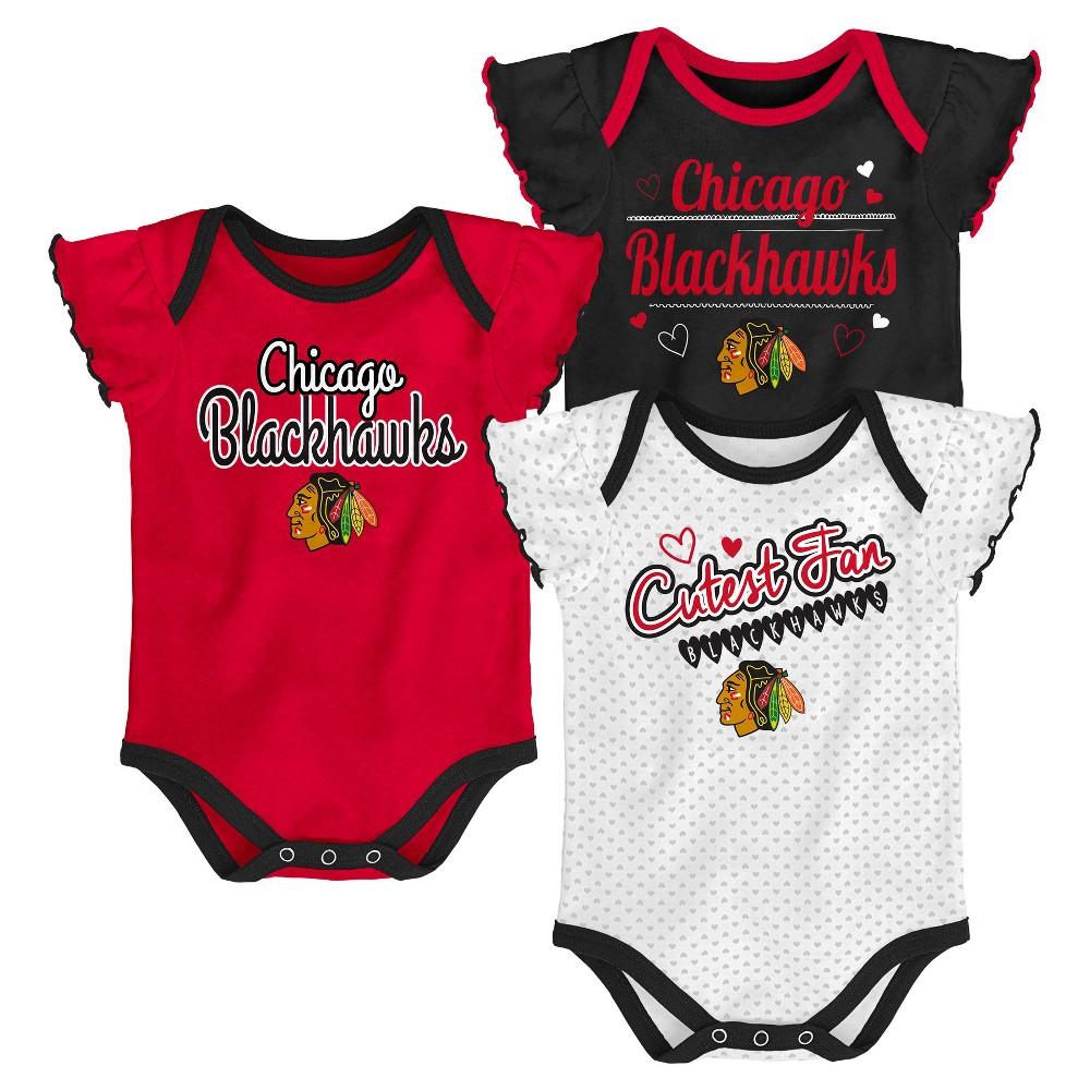 Chicago Blackhawks Girls' Winning Goal 3pk Body Suit Set 6-9M, Multicolored