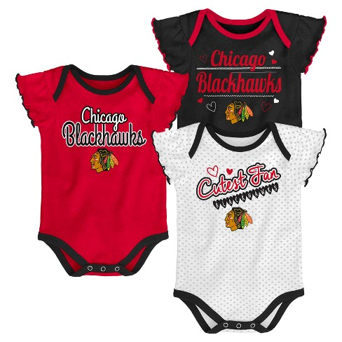 NHL Chicago Blackhawks Girls' Winning Goal 3pk Body Suit Set - image 1 of 4