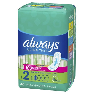Always Ultra Thin Pads Size 2 Super Long Absorbency Unscented Without Wings - 40ct : Target