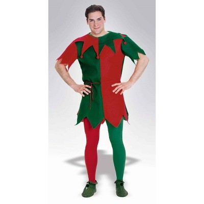 Forum Novelties Christmas Holiday Elf Costume Tights Adult: Red & Green
