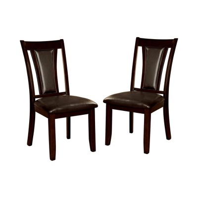 Set of 2 Nelson Leatherette Panel Back Side Chair Dark Red/Brown - HOMES: Inside + Out