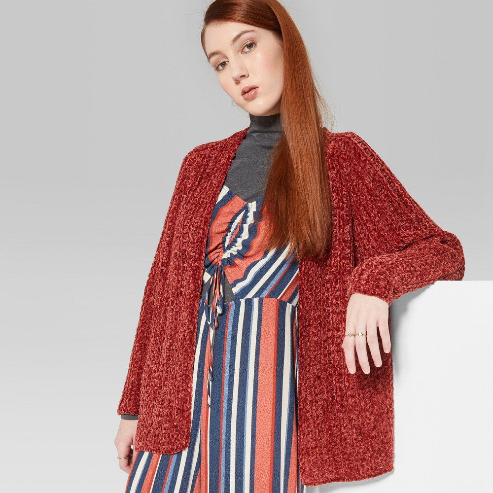 Women's Long Sleeve Chenille Open Cardigan - Wild Fable XS Rust (Red)