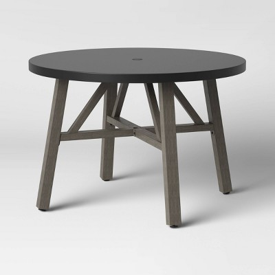 Concrete & Faux Wood 4 Person Round Patio Dining Table - Smith & Hawken™